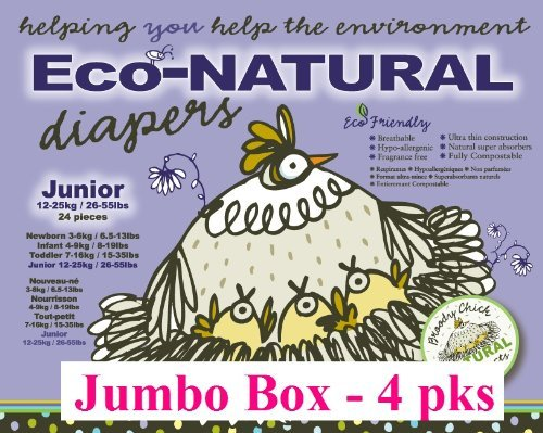 Broody Chick 100% Natural Fully Compostable Diapers Jumbo Box (Junior 26.5 - 55.1 lbs. (96-Count))