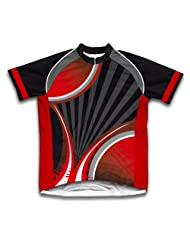 Black Red Striker Short Sleeve Cycling Jersey for Women