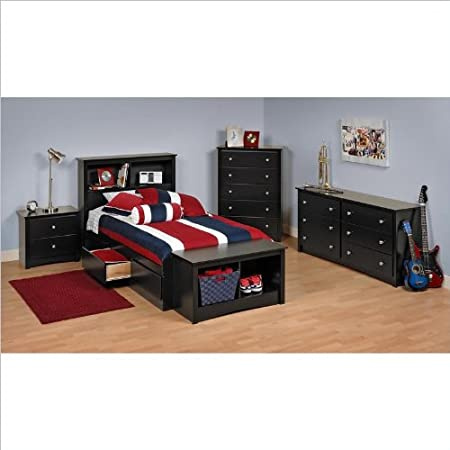 Prepac Sonoma Black Twin Wood Platform Storage Bed 3 Piece Bedroom Set