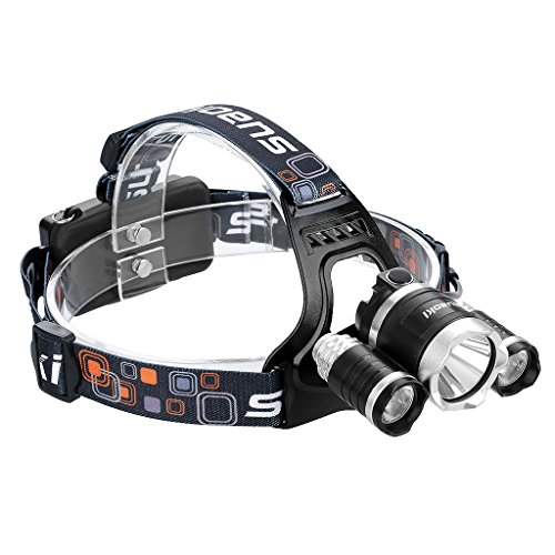 Suaoki - Linterna Frontal LED de Cabeza Con T6 CREE (Recargable, Luz Rojo 3 Modos Cambiable, 3000 lumenes, Potente Faro)