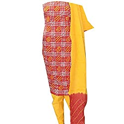 APKAMART Women Cotton Tie and Dye or Rajasthani Bandhej Orange and Yellow - Unstitched Dress Material - 2.2 Meters