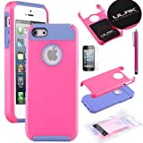 Pandamimi ULAK Rose Red & Blue Fashion Sweety Girls TPU + PC 2-Piece Style Soft Hard Case Cover for iPhone 5 5S with Free Screen Protector and Stylus