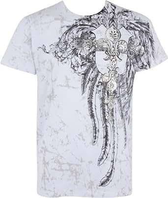 TGFleurCroix507 Fleur de Lys Croix En relief argent métallique Manches courtes Col rond Coton T-Shirt Fashion homme - Blanc / Petit