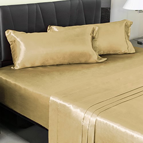 DreamHome Super Soft Deep Pocket 4-Piece Satin Sheet Set (Queen Size, Gold) (Satin Gold Sheets compare prices)