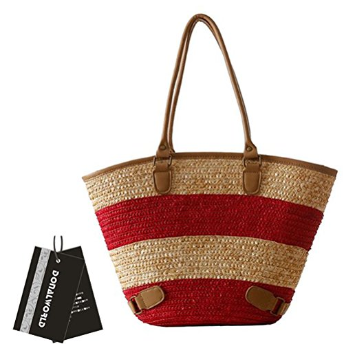 Donalworld Women Summer Fashional Lace Corn Husk Woven Straw Beach Bags Shoulder Bags Apricot (Corn Husk Shells compare prices)