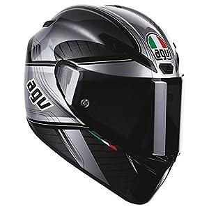 AGV GT-Veloce GTX Full Face Motorcycle Helmet (Black/Silver, Large) from AGV