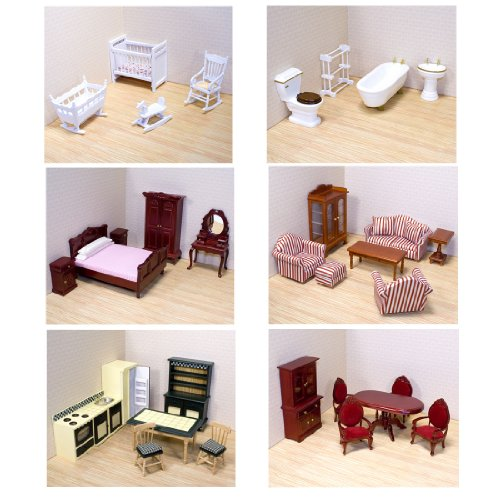 Melissa Doug Deluxe Doll House Furniture Bundle Living Room Set Kitchen Bedroom Bathroom