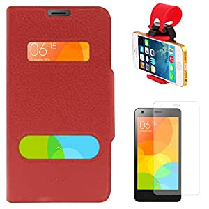 DMG Premium Flip Table Talk Stand Cover Case For Xiaomi Redmi 2 (Red) + Car Steering Wheel Mobile Phone Socket Holder + Matte Screen