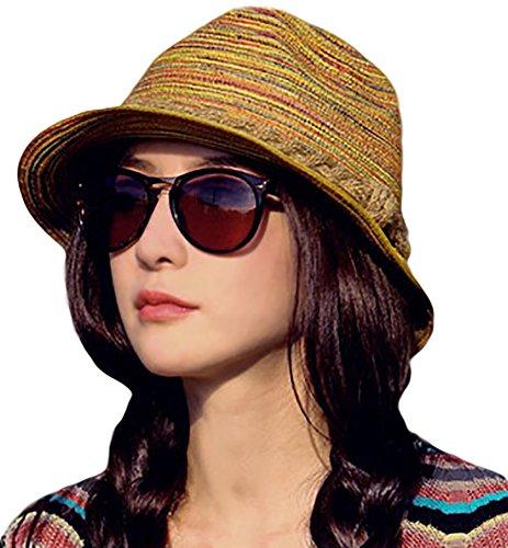 IL Caldo Womens Fascinators Summer Braid Colorful Straw hat Fashion Sun Beach hats,Colorful