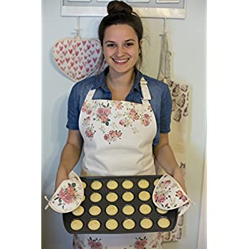 Women's Apron and Oven Mitt Set for Kitchen, Cooking, Baking, Apron has Bib and Large Pocket, Cute Patterns (Vintage Rose)