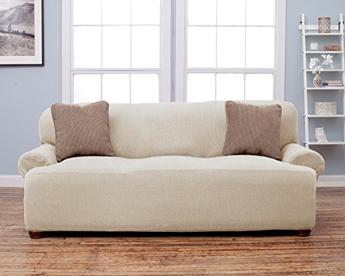 Savannah Collection Strapless Slipcover. Form Fit, Slip Resistant, Stylish Furniture Shield / Protector Featuring Soft, Lightweight Fabric. By Home Fashion Designs. (Sofa, Ivory) (Cheap Couch Covers compare prices)