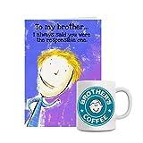 Giftsbymeeta Brothers Mug With Purple Card Rakhi Gift (Rakhi Gifts Card:L:4xH:7 And Mug:H:3.7xdia:2.5(In...