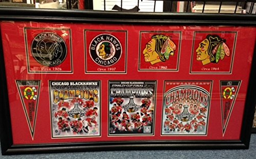 2015, 2013, 2010 Chicago Blackhawks Stanley Cup Champions Team Celebration Photos Framed Collage