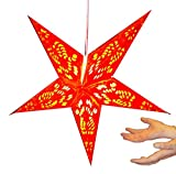 Hanging star lantern without lights - 5 point paper stars