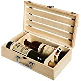 Hand Made Vineyard Design Vintage Wooden Crate 2 Wine Bottle Travel Storage Box Carrying Display Case
