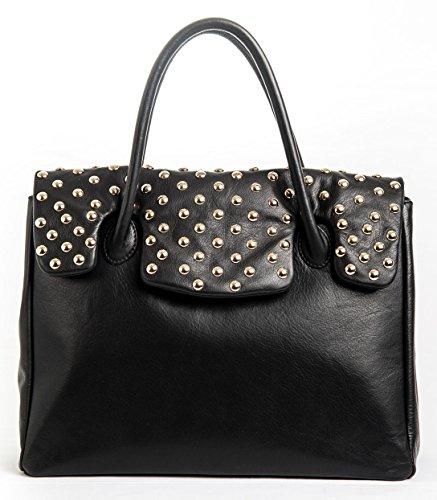 Kelly Gold - Passione Bags - Borsa da donna in vera pelle a mano o a spalla nera con borchie - Made in Italy