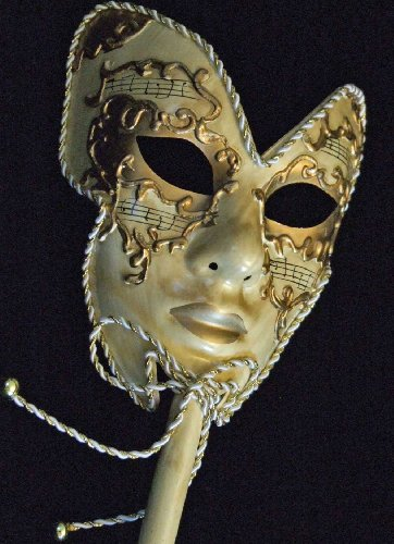 Venetian Mask Full Face Mardi Gras Mask WAND MEDICI IVORY GOLD Halloween Masquerade