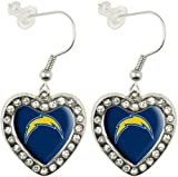 NFL San Diego Chargers Crystal Heart Earrings with Team Logo at Amazon.com