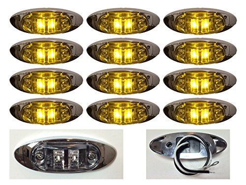 """12 New 4""""X1.5"""" Clear/Amber Led Surface Mount Clearance Marker Light With Chrome Bezel Oval Oblong -Good For Trucks Trailers Etc El-112692Ca"""
