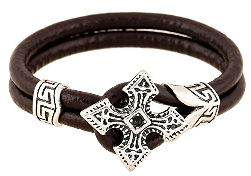 SaySure - Brown Leather Bracelet Punk Rock Cross Wristband