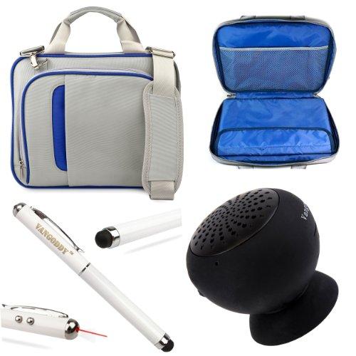 """Pinn Messenger Bag For Hannspree T7 Series 10.1"""" Tablet + Vg Stylus Pen + Black Vangoddy Suction Stand Bluetooth Speaker (Blue)"""