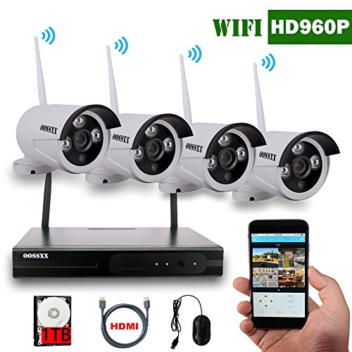 Wireless Security Cameras OOSSXX 4 Cameras 960P Wireless IP Cameras 80ft IR with Wifi Camera for Video Security 1.3MP Wireless CCTV System Support Smartphone with 1TB Hard Disk&HDMI Cable (Wi Fi Dvr Security System compare prices)