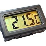 Digital LCD panel Thermometer for Fridge Freezer Pets Aquarium Vivarium Hydroponics -50°C to +110°C Black or White (Black)