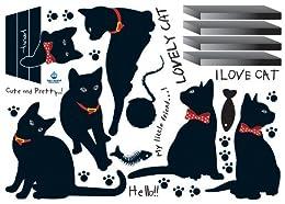ウォールステッカー 6匹の黒猫