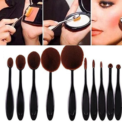 ABCsell 10PC/Set Toothbrush Eyebrow Foundation Eyeliner Lip Oval Brushes