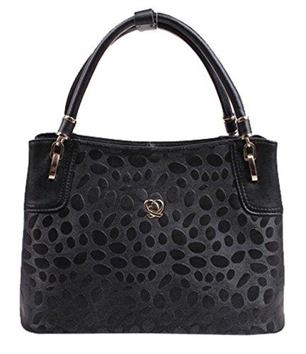 Lualu Practical Black Leather Totes Shoulder Bag Handbags For Women