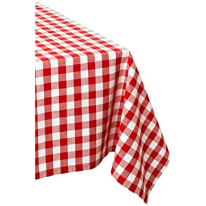 DII Flame Red and White Checkers Tablecloth 52 x 52""