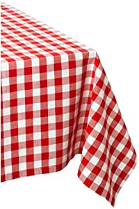 "DII 100% Cotton, Machine Washable, Dinner, Summer & Picnic Tablecloth 52 x 52"", Tango Red Check, Seats 4 People"