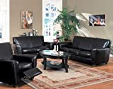 3pc Contemporary Havana Espresso Leather Chair Loveseat Sofa Set