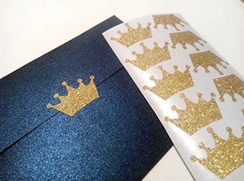 20-glitter-crown-stickers-princess-party-decor-envelope-seals-wedding-invitations-birthday-gold-or-s