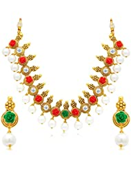 Sukkhi Pretty Flower Gold Plated AD Necklace Set For Women