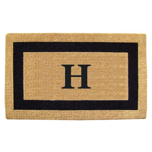 Creative Accents Single Picture Black Frame Heavy Duty Coir Doormat, 22 by 36-Inch, Monogrammed H (Monogrammed Outdoor Mats compare prices)