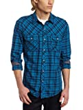 51uKUvWAH5L. SL160  Calvin Klein Jeans Mens Steely Plaid Long Sleeve Woven
