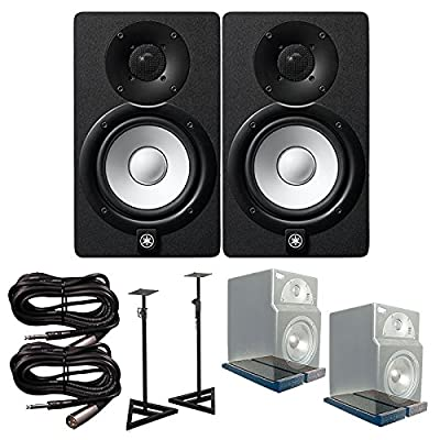 Yamaha HS5 Active Monitors (Pair) with PrimAcoustic IsoPlane, Monitor Stands, and TRS-XLR Male Cables Bundle by Yamaha