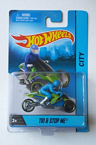Hot Wheels Hw City Blue & Green Tri & Stop Me 3 Wheeler Motorcycle
