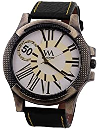 Watch Me White Dial Black Leather Watch For Men And Boys WMAL-066-W