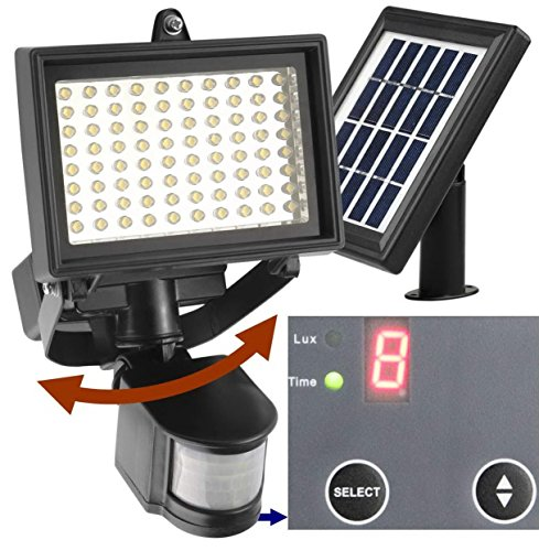 80 LED Outdoor Solar Motion Light +++ Digitally Adjustable TIME & LUX +++ 2-Axis Adjustable Solar Lamp +++ 2-Axis Adjustable Motion Sensor +++ Lithium Battery (Solar Motion Led Light compare prices)
