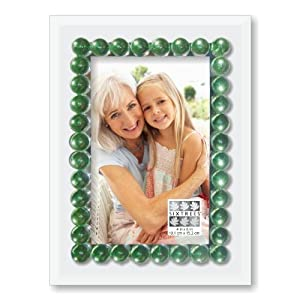 Sixtrees Bead Jewels Frame, Green, 4-Inch by 6-Inch