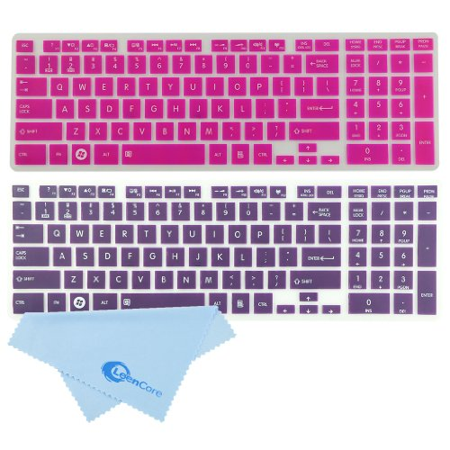 Leencore® 2-Pack Translucent Silicone Laptop Keyboard Skin Cover Protector For Toshiba Satellite C850 C855 C855D C870 C875 C875D Us Layout (Hot Pink & Purple) + 1X Microfiber Cleaning Cloth From Leencore