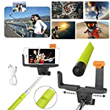 Adjustable Extendable Wireless Bluetooth Monopod Handheld Self Portrait Selfie Stick with Remote Shutter Function for iPhone 6/6 Plus, iPhone 4/4s, iPhone 5/5s/5c, Samsung S3/S4/S5/NOTE3/NOTE4, Blackberry, HTC, Sony, Nokia, LG (Green)
