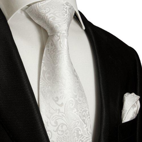 Mens Tie Set 2pcs. white wedding Paul Malone 100% Silk tie for men Necktie + Handkerchief