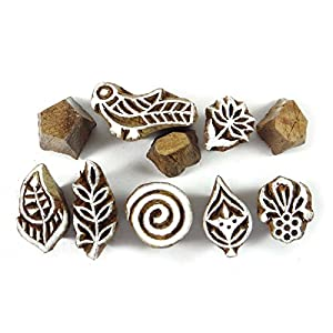 Bois Timbres textiles bois Timbres Craved main Impression bloc de timbres lots de 10 pièces