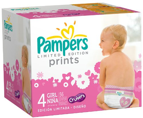Pampers Limited Edition Prints Diapers Pack for Girls Pack -- size: 4