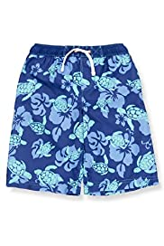 Contrast Drawstring Turtle Print Swim Shorts