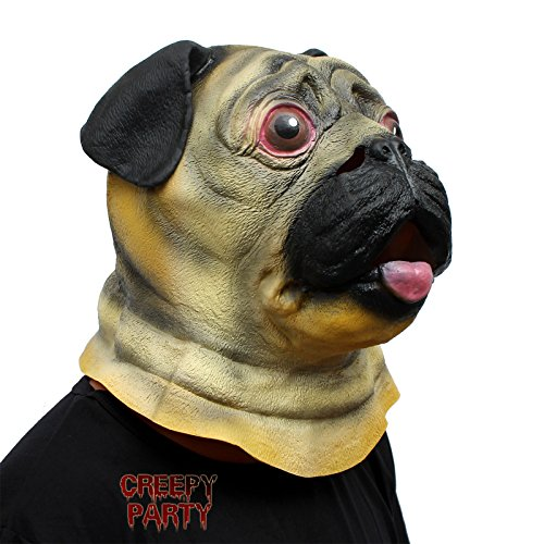 CreepyParty Deluxe Novelty Halloween Costume Party Latex Animal Head Mask Pug Dog