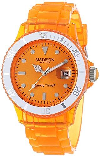 MADISON NEW YORK Candy Time® Jelly Mix U4631-04/1 - Orologio da polso unisex, cinturino in plastica colore arancione